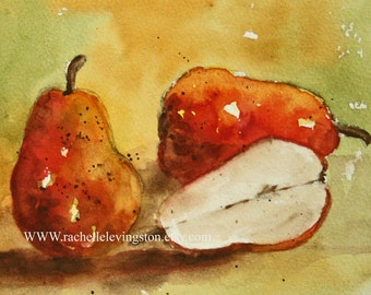Art for Kitchen food art pear painting Kitchen wall art 8x10 Red Fruit PRINT from watercolor pear painting yellow green