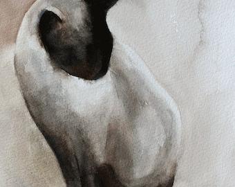 cat PRINT art print of cat watercolor painting of a cat painting in watercolor cat painting 11x14 cute Siamese Kitten print