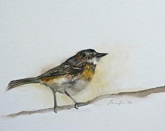 minimalist bird painting of bird art print  warbler bird print of bird yellow bird modern cottage chic watercolor painting