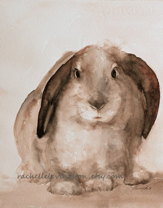 Original Watercolor Painting Bunny In Soft By