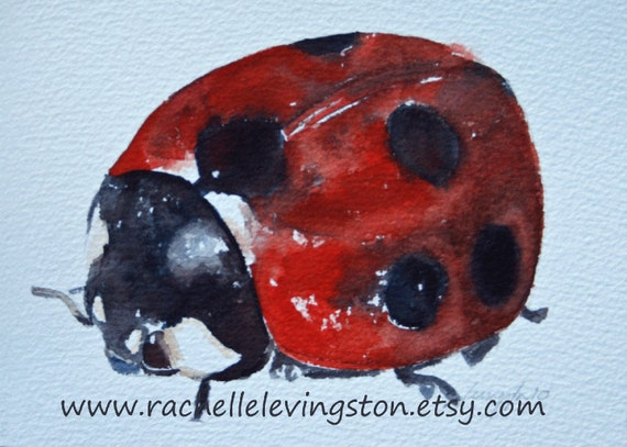 Ladybug PRINT / ladybug art print (from original Ladybug Painting) 5 x 7 in rust red crimson blood black scarlet white