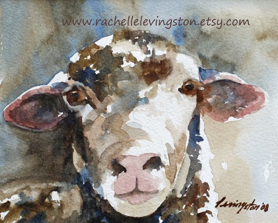 baby nursery Room decor Art kids wall art Sheep PRINT Shabby Chic art watercolor painting sepia cream copper tan beige black blue 8x10