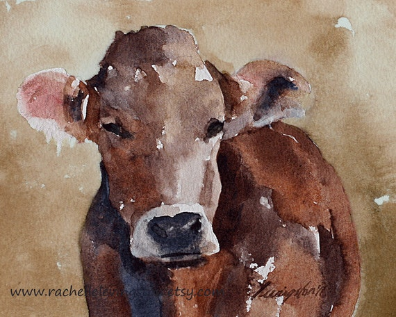 Cowboy wall art Cowboy room decoration Brown Cow 8x10 PRINT of watercolor painting in sepia pink rust rusty tan beige toddler room decor