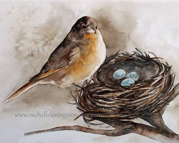 Bird Nest PRINT ( Painting Robin Bird Nest Painting 8x10) Brown room decor brown wall hanging gold robin egg blue (Bird with nest print)