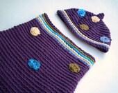 Plum Cocoon Pixie Hat Set Newborn Photo Prop Cotton