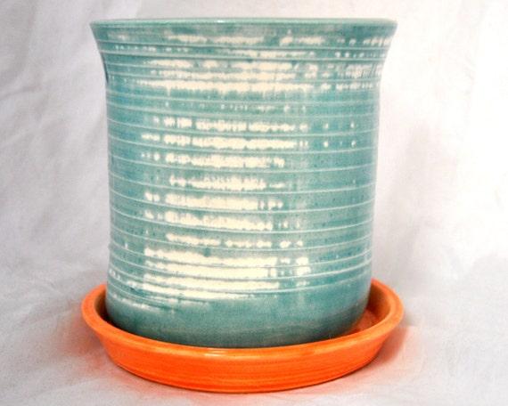 Teal 'n Orange planter by SAMOS