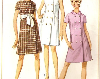 Vintage 1968 Simplicity Misses Coat-Dress Sewing Pattern Size 14 No. 7721