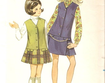 Vintage 1969 Butterick Childrens and Girls Jumper Sewing Pattern Size 4 No. 5442