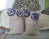 Purple and White Linen Flower Bean Bag Bookend Pair