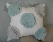 Stuffed Morning Dew Garden Rose Pillow in French Blue and Robin Egg Blue Linen