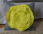 French Rose Pillow in Grey and Warm Olive Linen