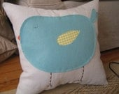 Chubby Bird Pillow in Robin Egg Blue and Yellow Gingham on Light Gray Linen