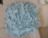 Snow Blue Round Hydrangea Pillow