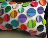 Fun Multi- Color Rainbow Felt Disc Pillow