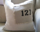 Numbers 1-2-3 Pillow French Vintage Look Linen Patch Pillow Cover 16x16 inch