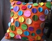 Orange  Linen Disc Pillow- Rainbow Colors
