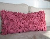The Statment Pillow- Large Hydrangea Lumbar Pillow in Rose Felt