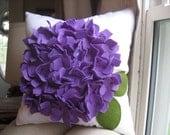 Hydrangea  Pillow in White Linen and Purple Felt Bloom