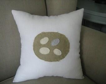 Burlap Nest Pillow on White Linen