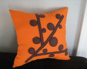 Brown and Orange Berry Branch Pillow