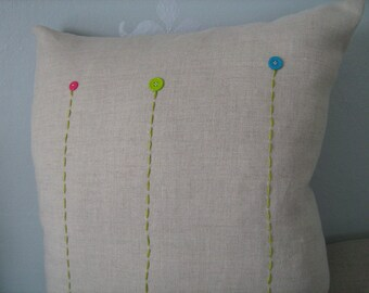 Trio Of Button Blooms Pillow