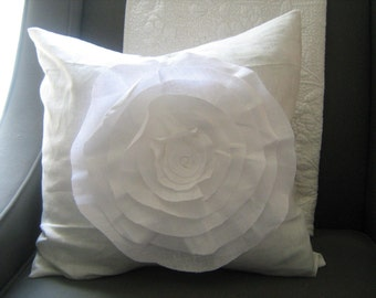 Custom- 16x16- FRENCH BLUE and Light ROSE White and Cream French Rose Pillow in Linen