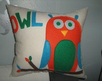 Baby Owl Pillow in Orange,Green and Turquoise