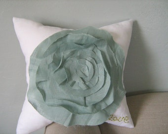 French Rose LOVE Pillow in White and Robin Egg Blue Linen