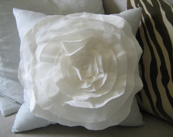Stuffed French Rose PIllow in French Blue and Cream Linen