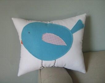 Cute Chubby Baby Bluebird Pillow