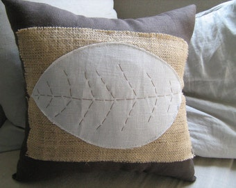 Natural Collection- Burlap Patch Pillow With French Blue Leaf on Chocolate Linen