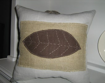 Natural Collection- Burlap Patch Pillow With Chocolate Brown Leaf on French Pillow Linen