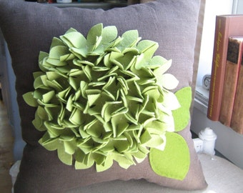Hydrangea Pillow in Pea/Sage Green and Brown Linen