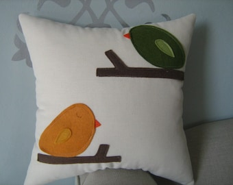 Hello Up There Bird Pillow in Moss Green and Burnt Orange