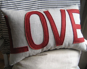 LOVE Pillow in Oatmeal Linen and Dark Cranberry- Maroon- Dark Red