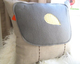 Chubby Charcoal Bird Pillow on Oatmeal Linen- CUSTOMIZE