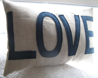 LOVE pillow in oatmeal linen and navy