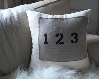 1-2-3 Linen Patch Pillow- Hand Stenciled- Vintage Look