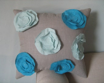 Garden Rose Pillow in Bright Turquoise