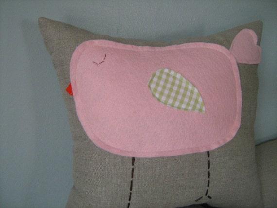 Pink Chubby Baby Bird Pillow on Oatmeal Linen