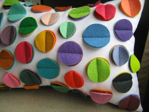 Fun Multi- Color Rainbow Felt Disc Pillow