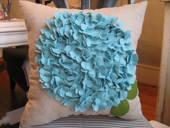 Hydrangea Pillow in Oatmeal Linen and Robin Egg Blue Bloom