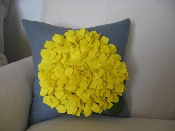 Hydrangea Pillow in Grey Linen and Bright Yellow Felt