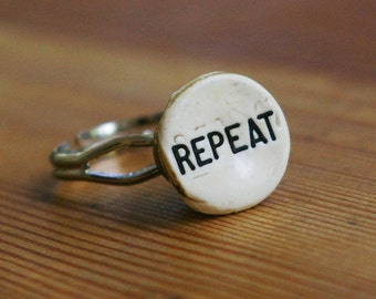 Repeating Yourself Upcycled Cash Register Button Ring
