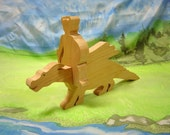 Dragon and rider wooden toy