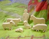 wooden Barnyard animal Set (7 pc)
