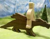 Walnut & maple Dragon and rider toy