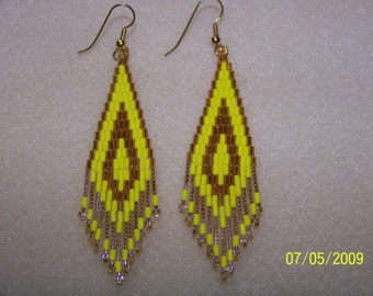 Yellow and Gold bugle and seed bead brick stitch beaded earrings