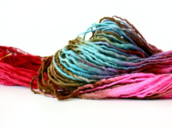 Wool Yarn-Hand Dyed-Merino Yarn- Handspun Single- Shenandoah 96 yards