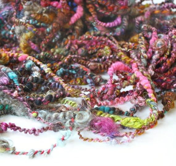 Silk Road 64 yards Wool Yarn Hand Dyed, Merino Blend Handspun Plyed- Art Yarn